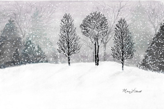 Winter Wall Art Winter Landscape Watercolor Painting Snow Scene Watercolor Art