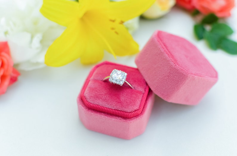 Octagonal ring box Wedding Gift Fuchsia Velvet ring box