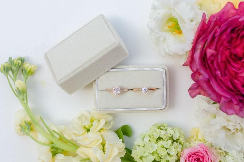 Gift Rectangular ring box Velvet ring box Wedding Milky