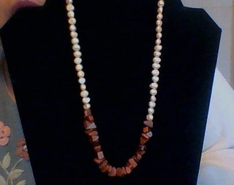 Freshwater pearl and brown goldstone necklace