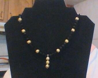 Bicone jet Swarovski crystal necklace