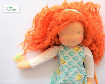 Waldorf inspired doll 16.5 inches/ 42 cm eco / organic doll red hair girl gift