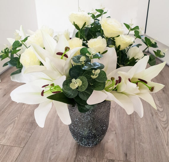 Artificial White Lily Vase Etsy