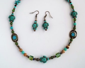 Turquoise Sea Turtle Necklace and Earring Set