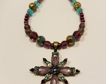 Antiqued Bronze Flower Necklace with purple and teal accents