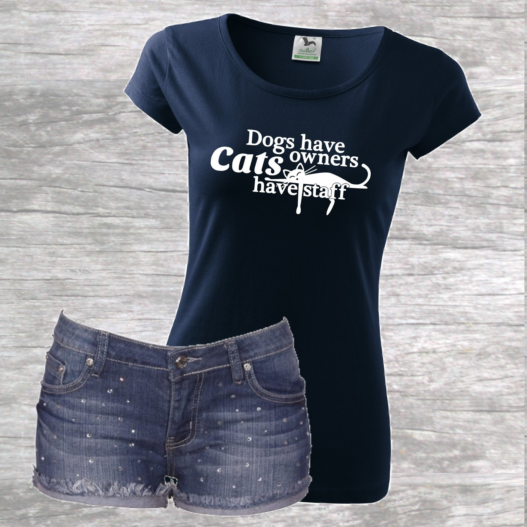 361f5bf8e Dogs have owners cats have staff t-shirt, Cat T-shirt, Dog T-shirt,  MalfiTee, Funny t-shirt, Funny cat ...