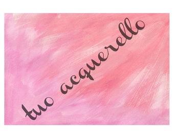 Pink Gradient Watercolor Print