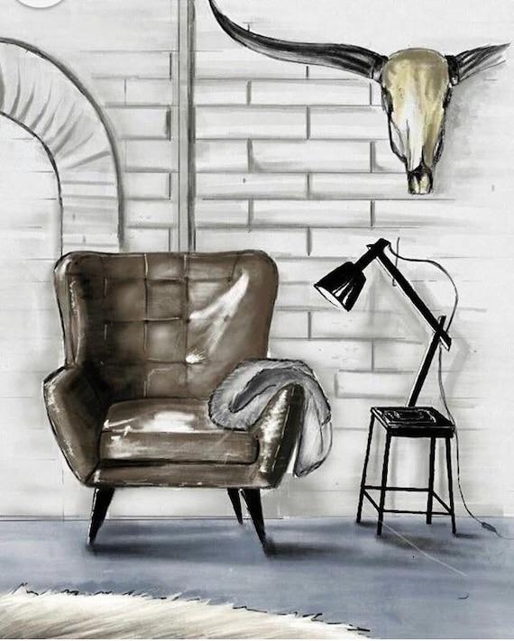 Digital Interior Design Drawing Etsy