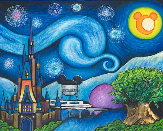 DISNEY CASTLE At Starry Night Cartoon Canvas Wall Deco ~ More Size ~