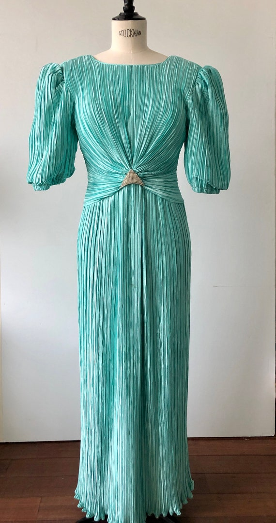 vintage emerald green pleated prom dress