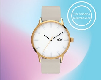 Simply Chic Minimalist Womens Watch with Gold Case and Grey Leather Band