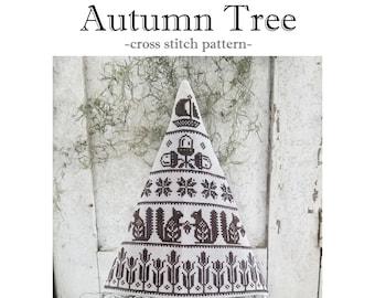 PDF- Autumn Quilt Tree cross stitch pattern
