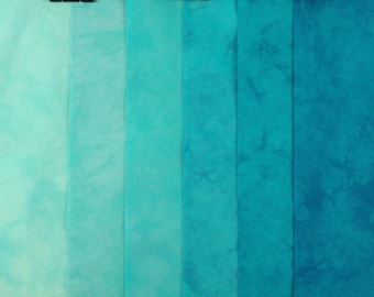 Turquoise Hand Dyed Fabric, Robert Kaufman Pimatex, Quilting Cotton