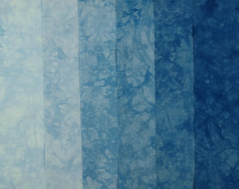 Hand Dyed Fabric, Blue, Gradation, Quilting Fabric, Cotton