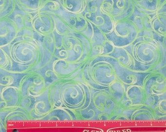 Blue Fabric by the Yard, Swirled Fabric, Cotton, Quilting Fabric, Quilting Treasures, Studio 8