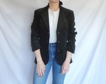 f31eed5b63 Corduroy Jacket Women Vintage Dark Green