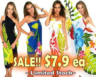 2ca393f2fa2b1 SALE USD7.90 ea Hand painted Beach Sarong Pareo Cover set of 3 freetochoose  Rayon Floral Plus Size Bikini Swimwear Beachwear Hawaii Dress