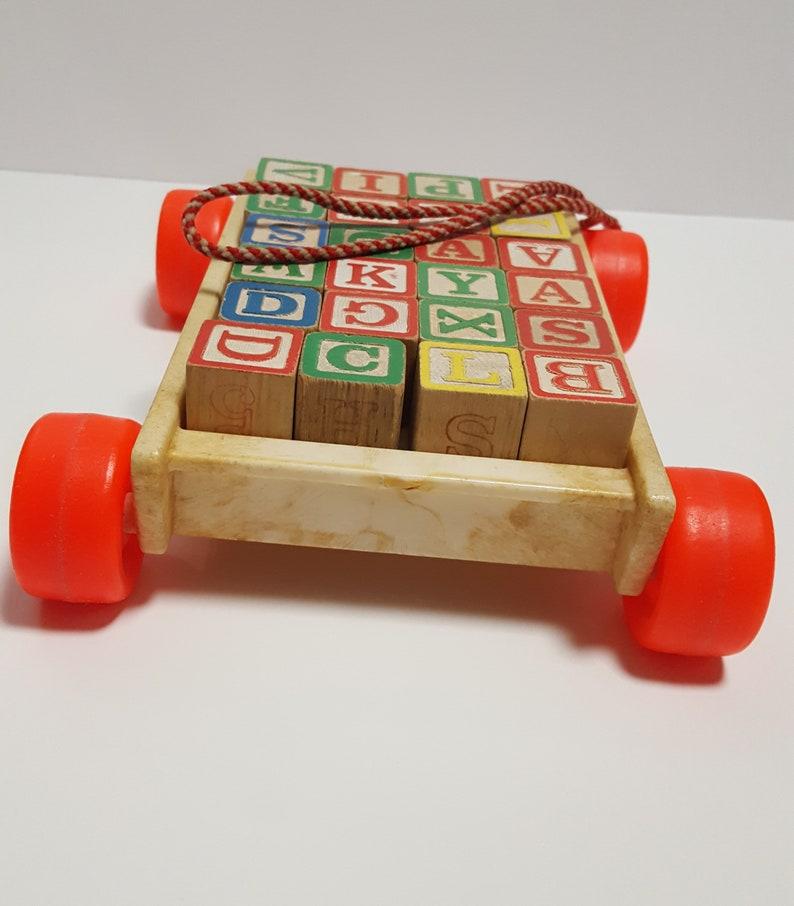 Vintage Playskool Pull Toy With Wooden Blocks Vintage Wood Toys Vintage Pull Toy