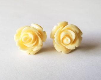 White flower earring etsy buttery white rose earrings stud earrings flower studs floral earrings white flower earring mightylinksfo