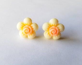 Yellow flower studs etsy puffy yellow flower earrings stud earrings flower studs floral earrings yellow stud earrings mightylinksfo