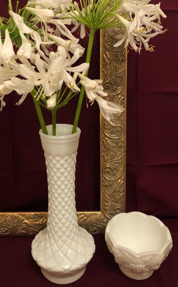 Vintage Randall Quilt Pattern Milk Glass Vase 9 Etsy