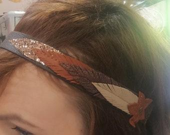 Shades of brown leather headband