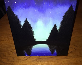 Acrylic Northern Lights Painting