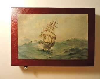 Decoupage Box of Sailing Ship