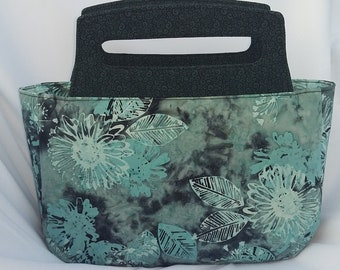 Staci Purse, Teal and Black, Top Handled Purse, Zippered Bag