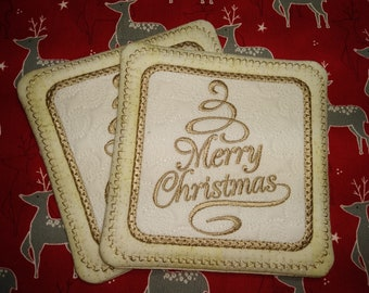 Embroidered Christmas Coasters