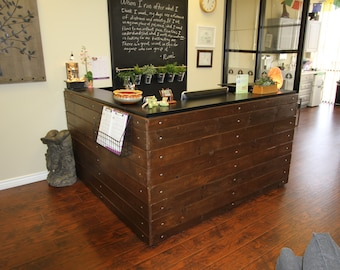 Rustic Wood Eco-Industrial Receptionist Desk