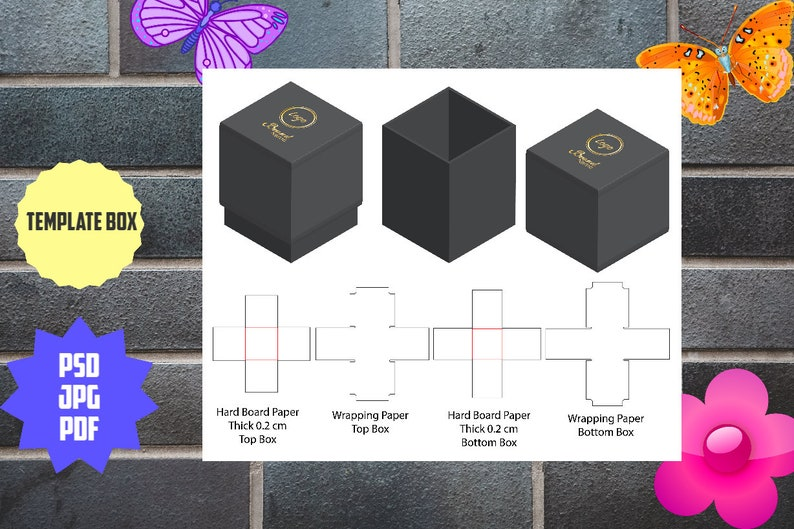 Printable template of package for gifts presents and items