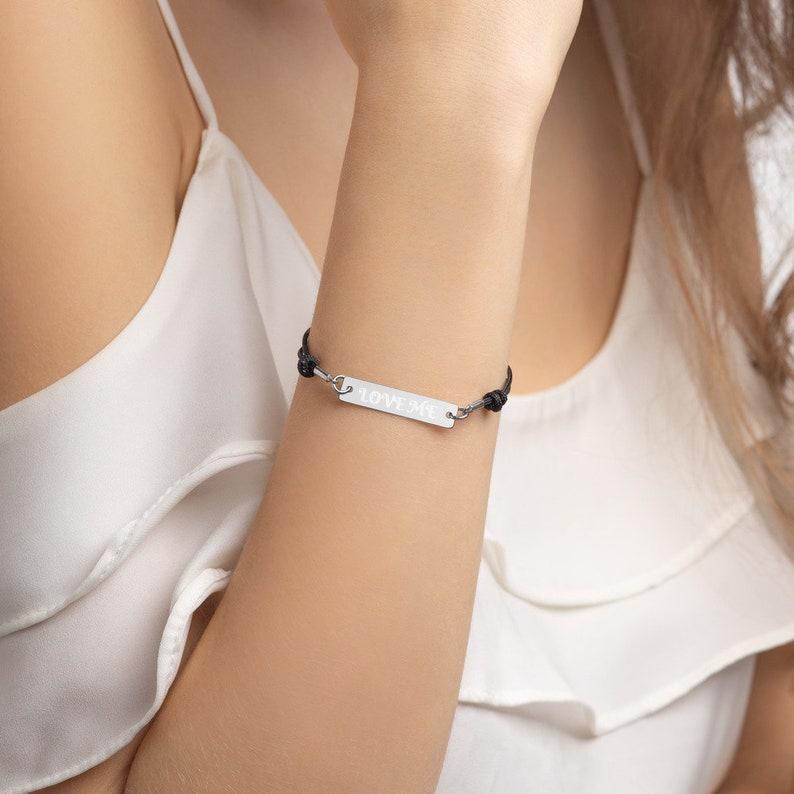Love me. Engraved Silver Bar String Bracelet image 0