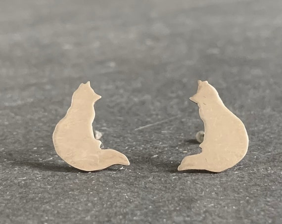 Sterling Silver Fox Stud Earrings