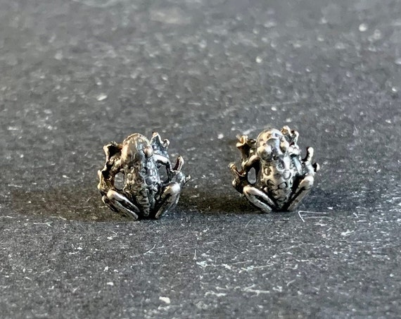 Sterling Silver Frog Stud Earrings