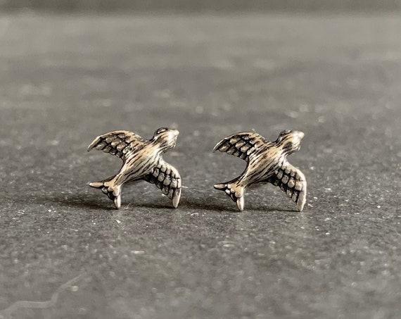 Sterling Silver Swallow Stud Earrings