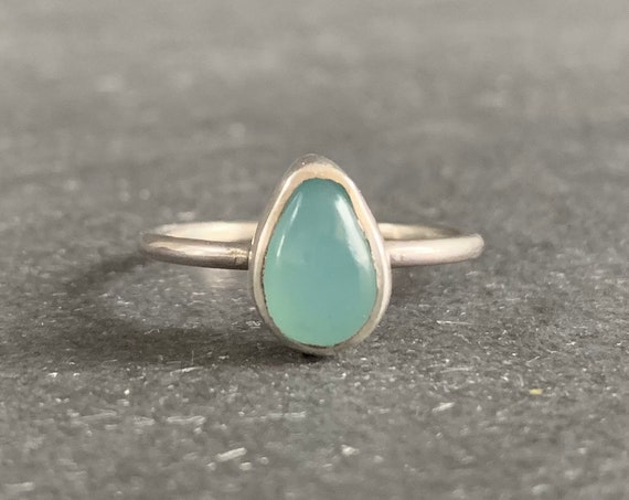 Sterling Silver and Natural Blue Chalcedony Stacking Ring
