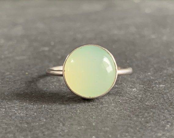 Sterling Silver and Natural Chrysoprase Ring, Chrysoprase Jewelry, Stacking Ring, Mothers Day, Gift