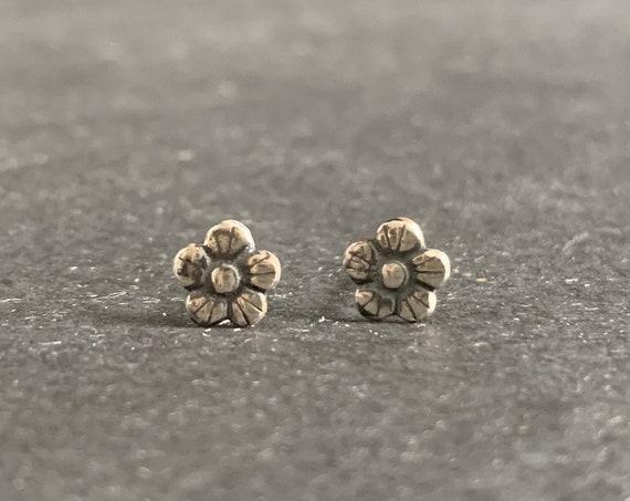 Sterling Silver Buttercup Flower Earrings