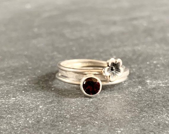 Customizable Set of 3 Sterling Silver Birthstone Stacking Rings