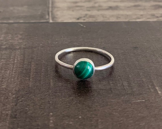 Sterling Silver and Natural Green Malachite Stacking Ring