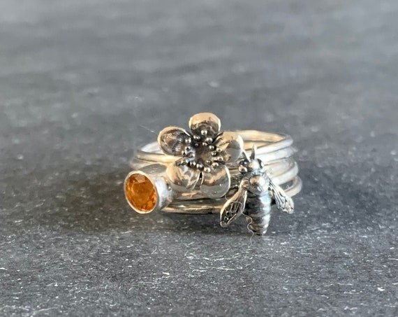 Set of 5 Sterling Silver and Natural Citrine Honeybee Stacking Rings