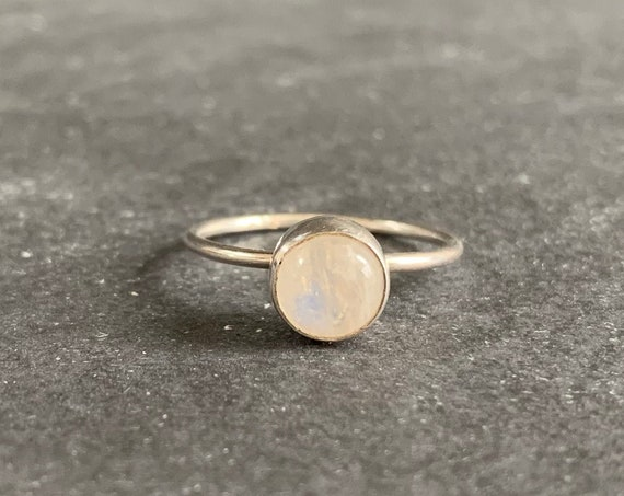 Sterling Silver and Natural Rainbow Moonstone Ring
