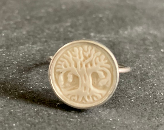 Sterling Silver Hand Carved Buffalo Bone Tree of Life Ring