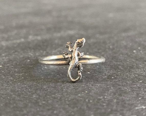 Sterling Silver Gecko Ring