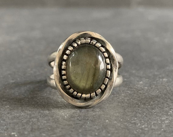 Sterling Silver and Natural Labradorite Ring