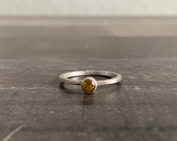 Custom Made Sterling Silver and Yellow Topaz Stackable Birthstone Ring