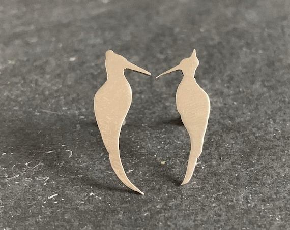 Sterling Silver Woodpecker Stud Earrings