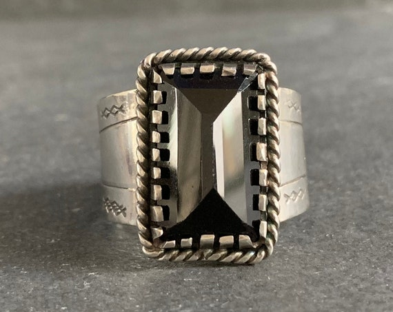 Sterling Silver and Natural Black Spinel Ring