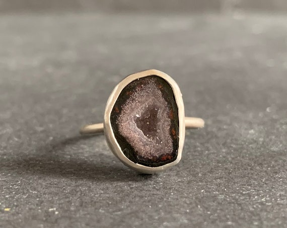 Sterling Silver Tabasco Geode Druzy Ring